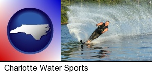 a young man waterskiing on a lake in Charlotte, NC