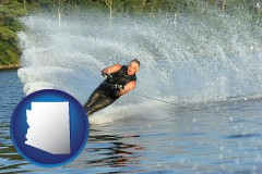 arizona map icon and a young man waterskiing on a lake