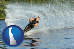 delaware map icon and a young man waterskiing on a lake