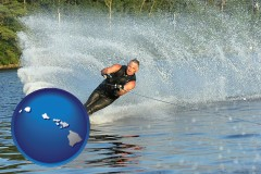 hawaii map icon and a young man waterskiing on a lake