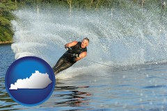 kentucky map icon and a young man waterskiing on a lake