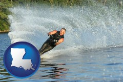 louisiana map icon and a young man waterskiing on a lake
