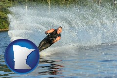 minnesota map icon and a young man waterskiing on a lake