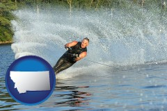 montana map icon and a young man waterskiing on a lake