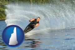 new-hampshire map icon and a young man waterskiing on a lake