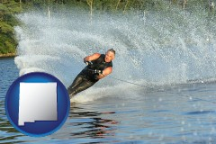 new-mexico map icon and a young man waterskiing on a lake