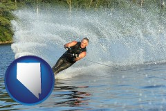 nevada map icon and a young man waterskiing on a lake
