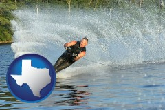 texas map icon and a young man waterskiing on a lake