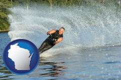 wisconsin map icon and a young man waterskiing on a lake