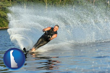 a young man waterskiing on a lake - with Delaware icon