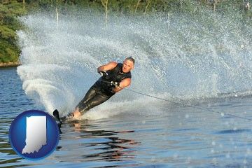 a young man waterskiing on a lake - with Indiana icon