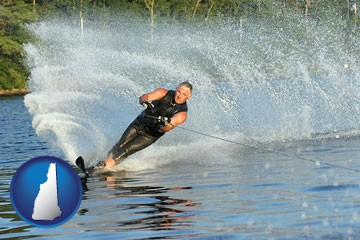 a young man waterskiing on a lake - with New Hampshire icon