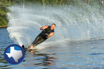 a young man waterskiing on a lake - with Texas icon